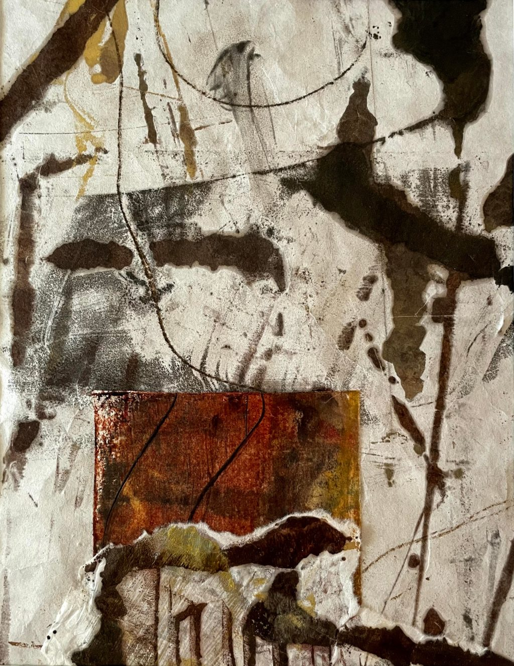 Opening Up #4, Encaustic on Japanese Paper, 14 x 11 inches