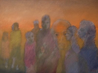 """Lost image / Series Immigrants, 2008, Oil on canvas, 36 X 48 inches """""""