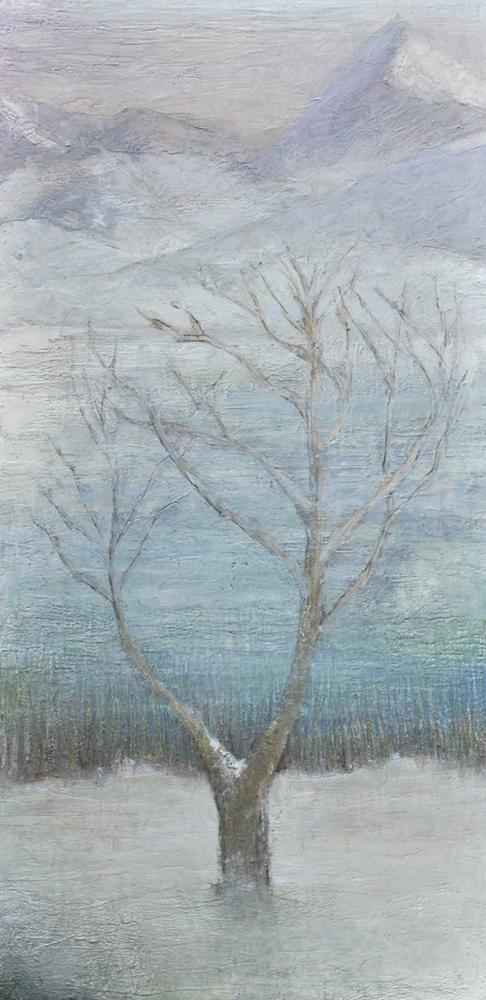 Silent Retreat, 2015, Encaustic on wood, 48 X 24 inches