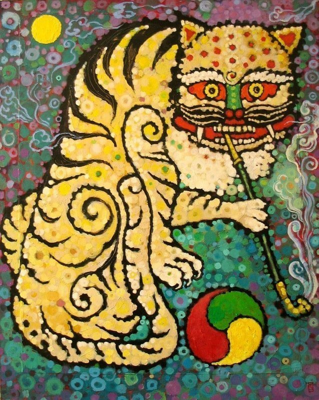 Smoking Tiger, 2013, Korean traditional floor paper, mixed media on wood panel, 30 x 24 inches