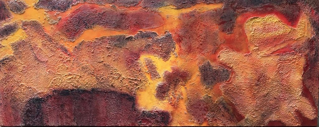 Teotihuacan Wall #1, Mexico 2017, acrylic and texture on wood panel, 24 x 60 inches