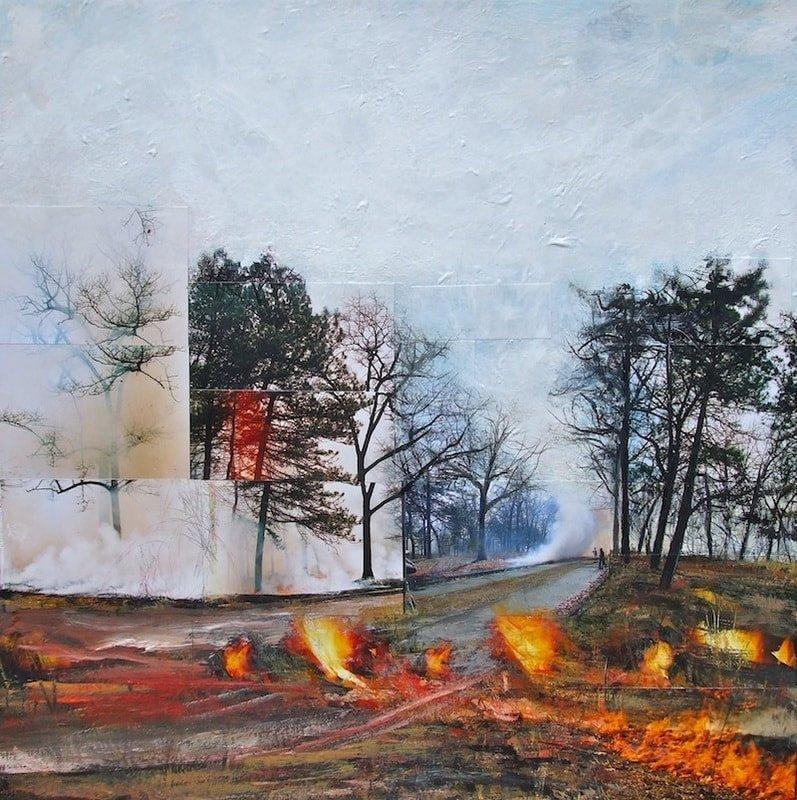 Howard Park Rd., 2014, High Park Burn, Mixed media on canvas, 24 x 24 inches