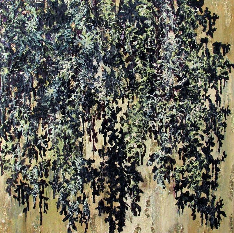 Falling Leaves, 2015, Encaustic medium, metallic leaf, washi paper on canvas, 24 x 24 inches