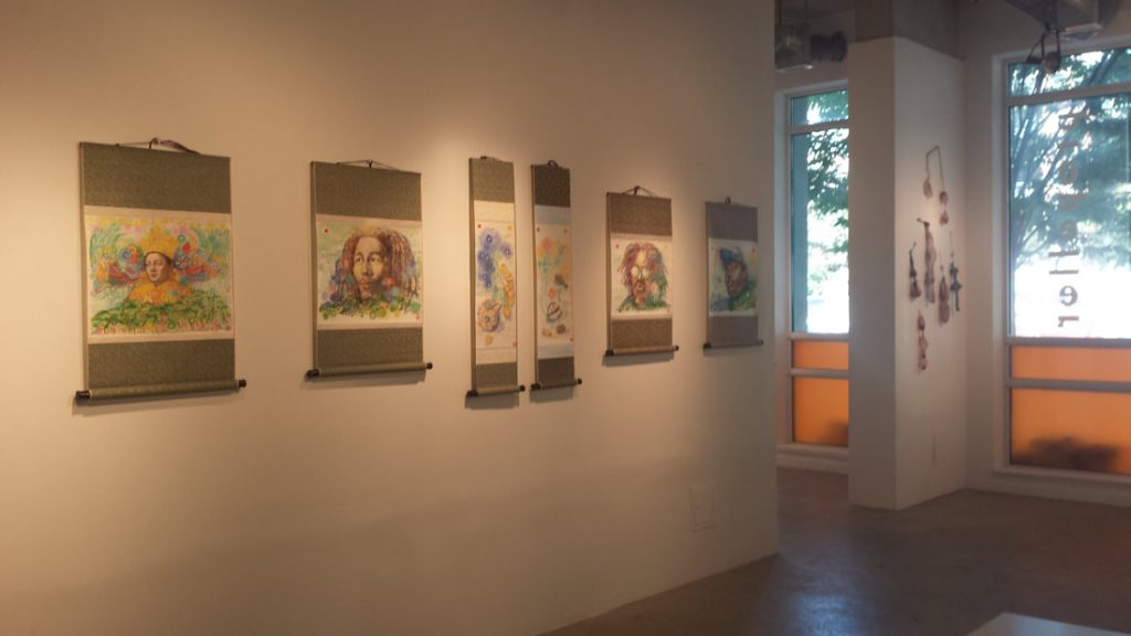 Tai Kim's solo show entitled 'I & I vibration' at the Propeller Gallery in 2015. Pictured are images she created of King Selassie, Empress Menen, Bob Marley, Peter Tosh and Marcus Garvey .