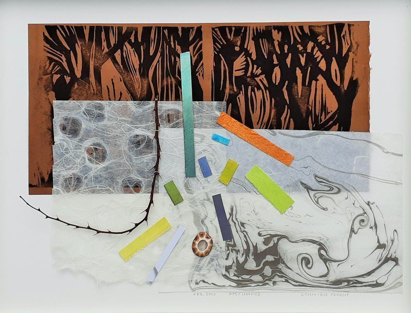 Hooked, mixed media, 13 papers, twig, shell, 12.75 x 16.75 inches, framed