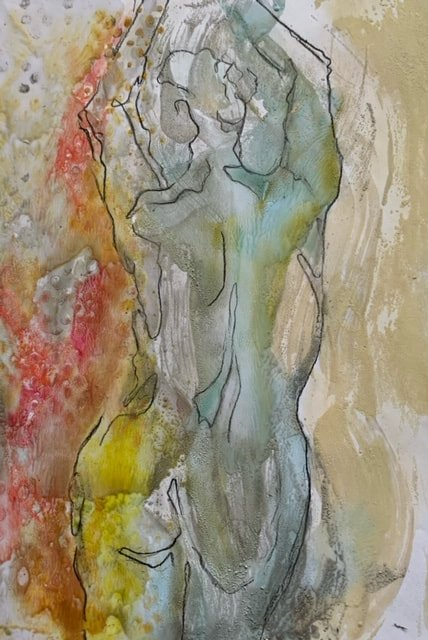 Dancer 2, Drawing on Encaustic Monotype, 10 x 8 inches SOLD