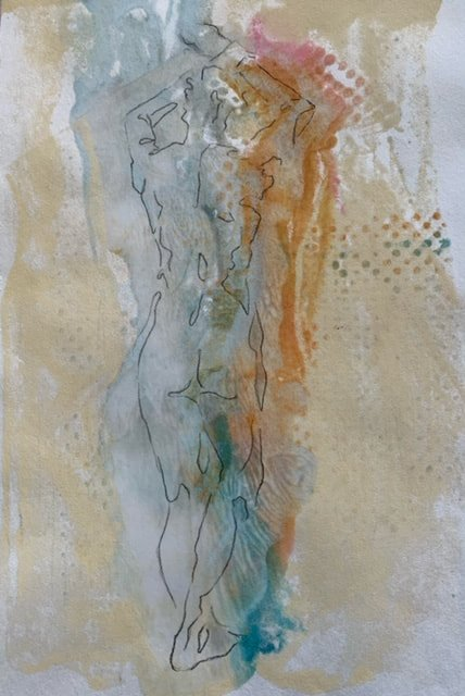 Dancer 1, Drawing on Encaustic Monotype, 10 x 8 inches SOLD