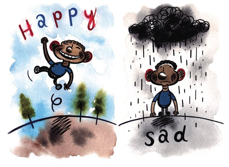 Happy/Sad, 2020, Water Colour, Giclee Print, 16 x 20 inches