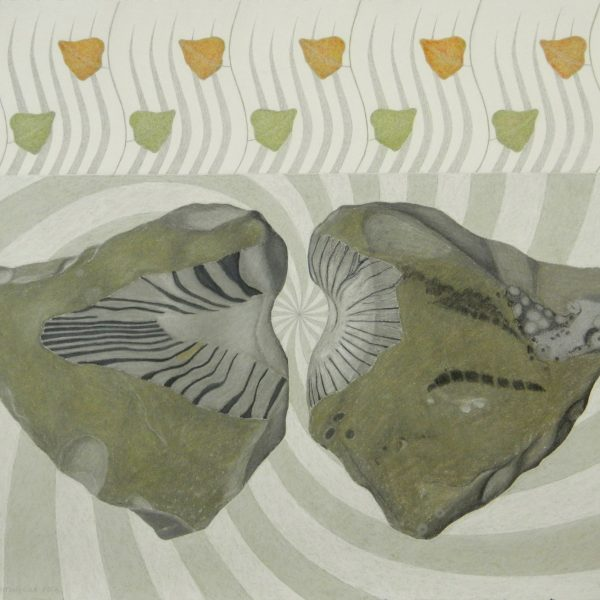 before and after 2 - arrowhead rock, chalk pastel & graphite, 22.5 x 30 inches (framed 27.5 x 35 inches)