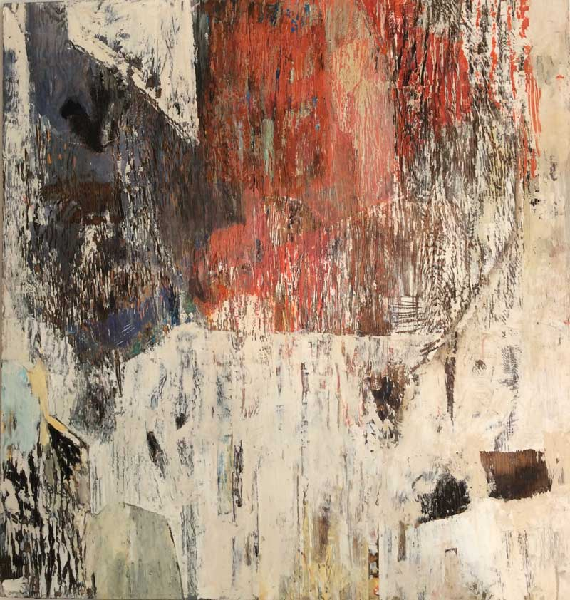 Untitled, Oil, charcoal, mixed media on wood, 36 x 36 inches