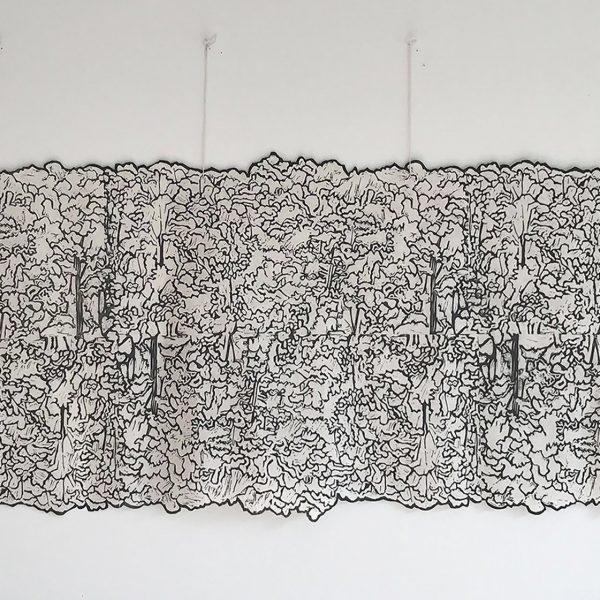 Haliburton Forest, Linocut hand printed on Seichosen Kozo Japanese paper, 1/3, 17 x 46 inches