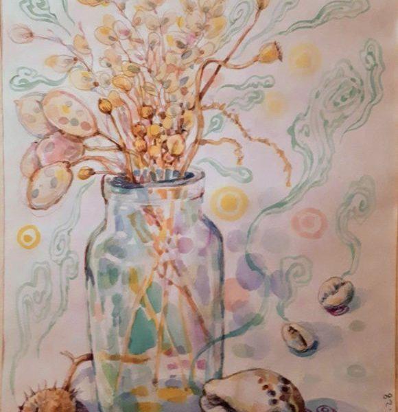 Dialog #17, 2019, Mixed media, watercolour, mineral colour, jokjah (silk scroll), 13 x 9 inches