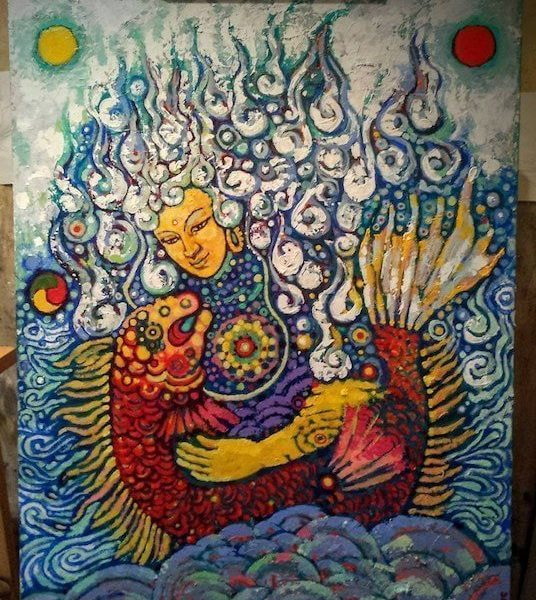 Joyful Fish, 2015, Mixed media, acrylics on canvas, 40 x 30 inches