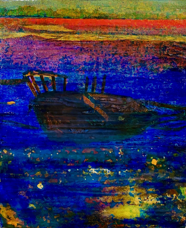 Barque Tunisienne, Photo transfers and acrylic on canvas , 12 x 10 inches