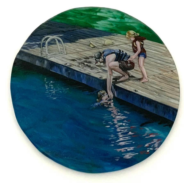 Sunday Afternoon, 2020, Glass and Enamel, 18 inches round