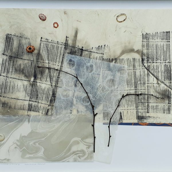 Cityscape Twigs and Shells, ink, 4 washi papers, 2 twigs, 16.75 x 20.75 inches, framed