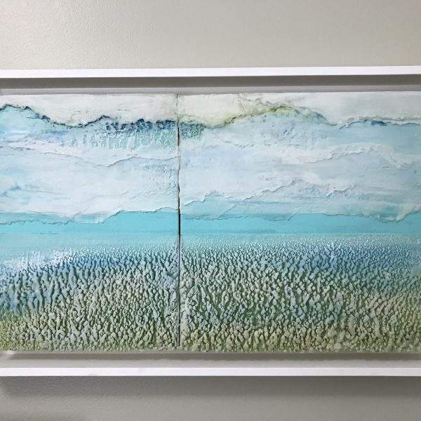 Drifting like clouds, Encaustic Diptych, Framed, 14 1/4 x 23 1/2 x 2 1/2 inches