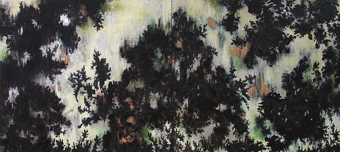 Leaves, 2013, Encaustic medium, metallic leaf & washi paper on linen, 40 x 72 inches diptych