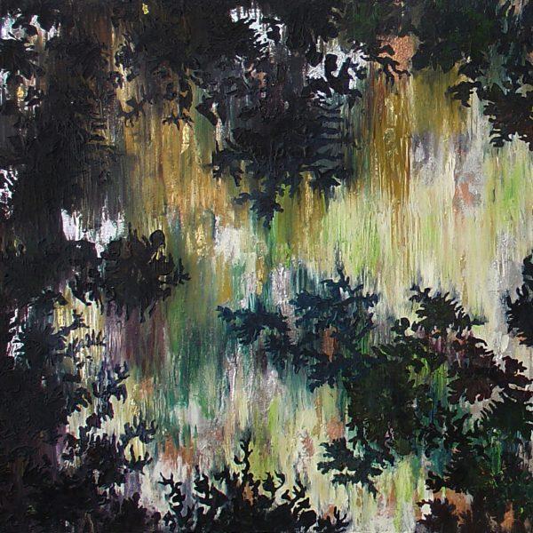 Leaves Light & Shadows Series, Encaustic medium, digital imagery & laser die cut on handmade paper and linen, 40 x 36 inches