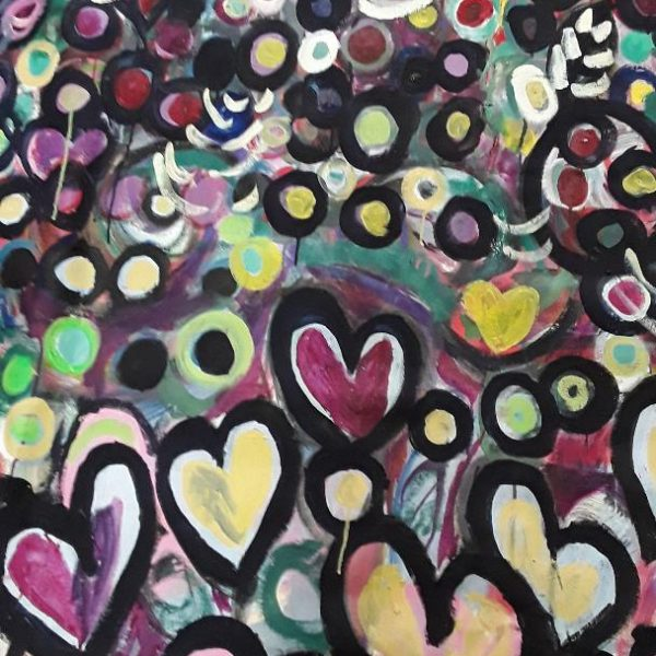 Hearts and Flowers, Oil on canvas, 6 x 5 feet, unstretched