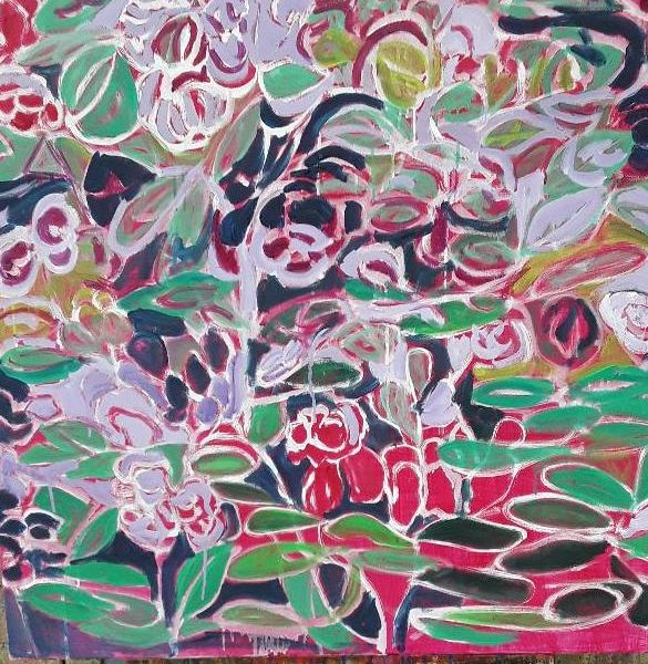 Rhododendrons, Oil on canvas, 36 x 36 inches