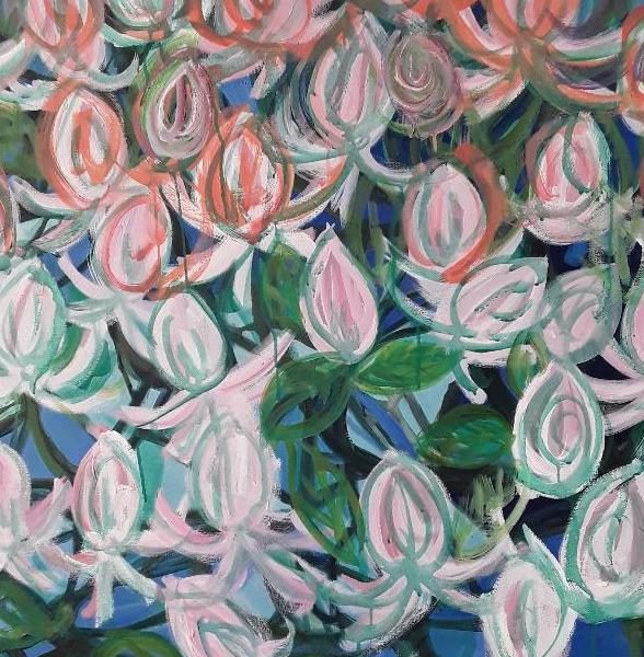 Spring Magnolias, Oil on canvas, 36 x 36 inches