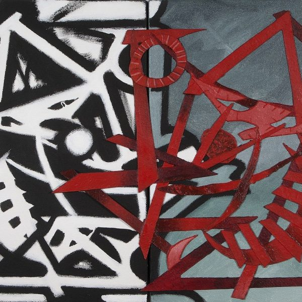 Psychlone, 2014, Acrylic on tar paper on canvas, 12 x 24 inches