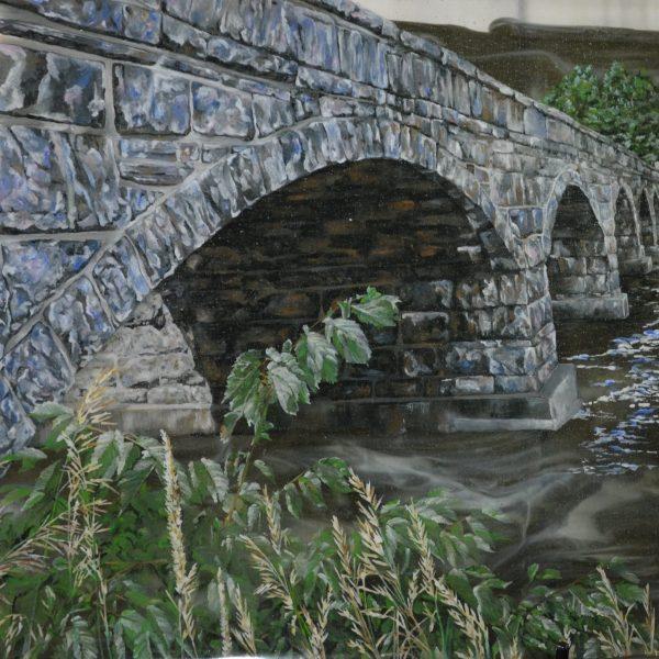 Bridging the Gap, 2020, Glass Enamel, 22 x 21.5 x 1 inch