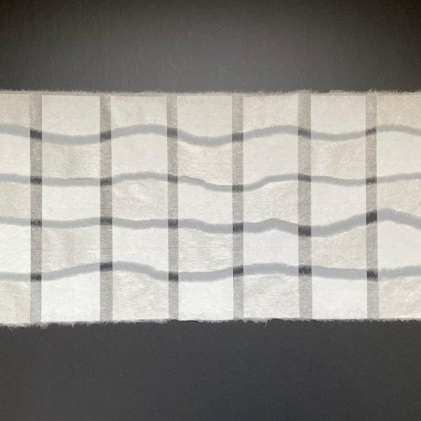 Contrasts, 2020, Sekishu-banshi Tsuru washi and Mylar, 10 x 21 inches