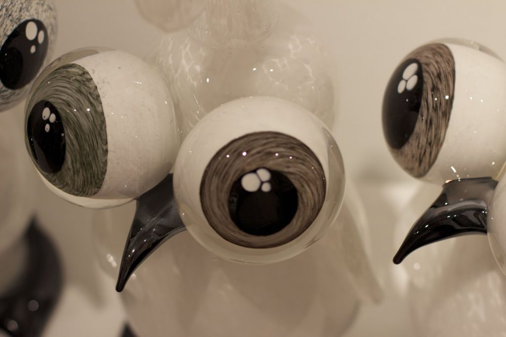Tommy Cudmore, Rare Grey Eyed Albino Loveguins, blown glass 2014 Black & White Ball
