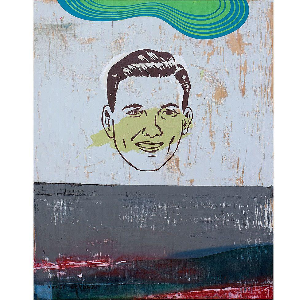 "Talking head 1, 2013 mixed media on wood board 24""x32"""