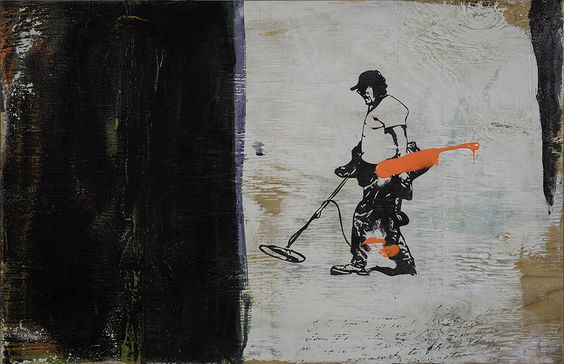 """Avner Levona - The Prusuit of happiness 5, 2014 mixed media on wood board 24""""x16"""""""