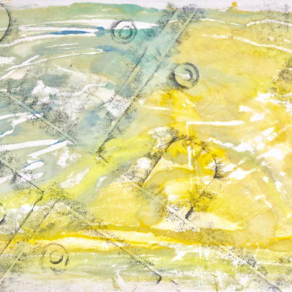 Metal Plate series # 2, Encaustic Monotype, 19 x 25 inches