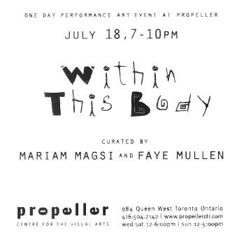 Within This Body: Performance Art Event | Curated by Mariam Magsi & Faye Mullen