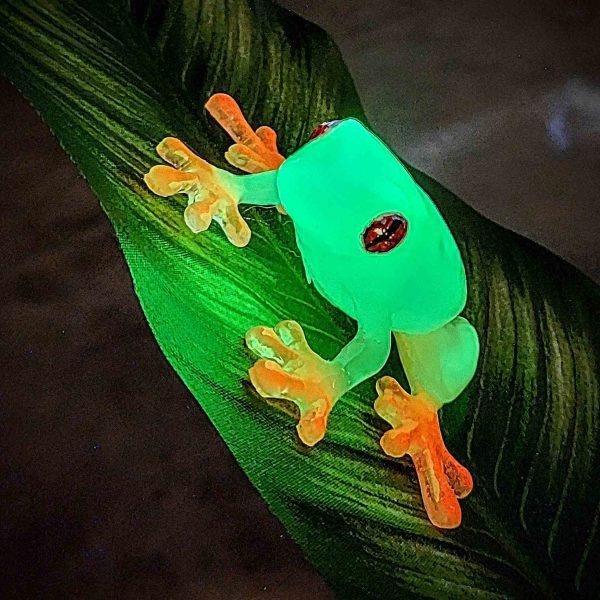 Rachel Stableford, Luminous-Treefrog, Resin and glow in the dark pigment, 3.5 in. x 3.5 in. x 1 in.