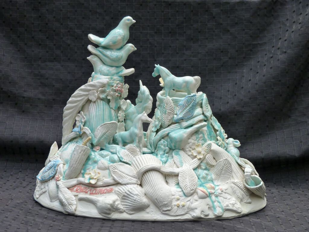 """Ann Cummings, Around the Bend over the Hill, Porcelain Clay and Glaze, 11.5"""" x 14"""", $2500"""