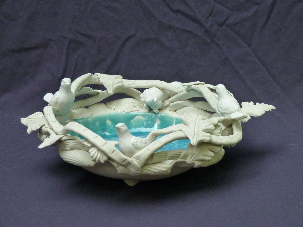 """Ann Cummings, Danger Ahead, Porcelain Clay and Glazes, 5.5"""" x 13"""", $1500"""