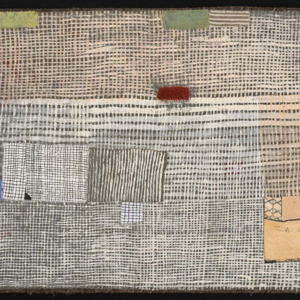 "Dorothy Caldwell, Two Fields Meet, Earth Ochre on Cotton, 13"" x17"", $2500"
