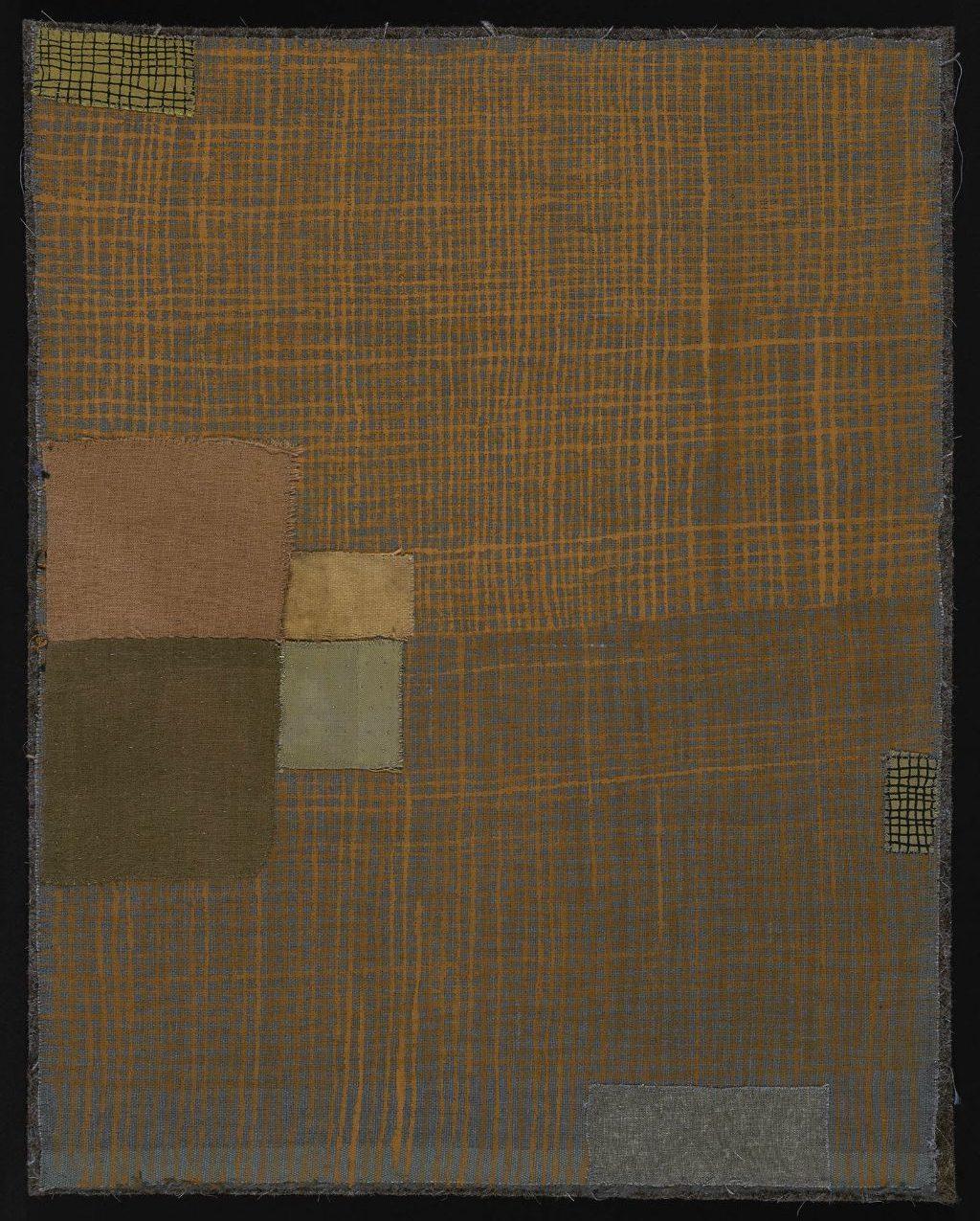"""Dorothy Caldwell, The Edge Where Birds Live, Earth Ochre on Cotton, 17"""" x 13"""", NFS"""