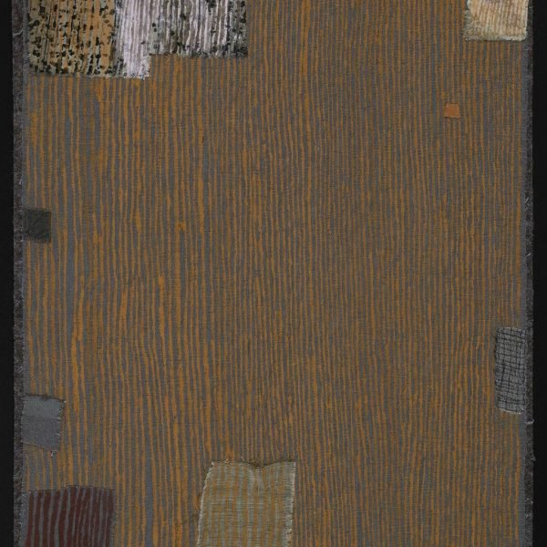"Dorothy Caldwell, Meadow Edge, Earth Ochre on Cotton, 17"" x 13"", $2500"
