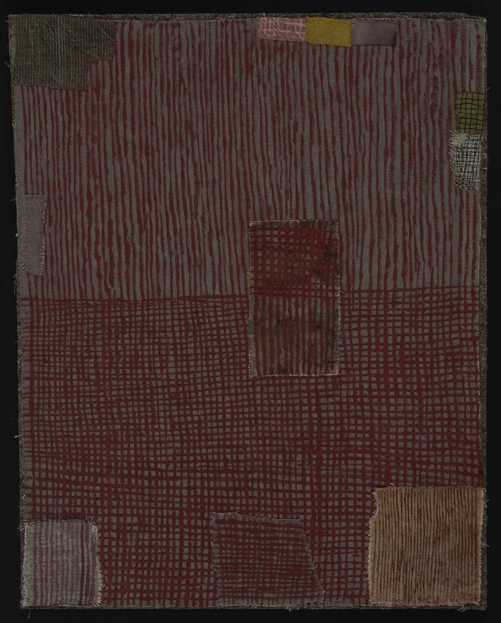 """Dorothy Caldwell, The Place Between, Earth Ochre on Cotton, 17"""" x 13"""", $2500"""