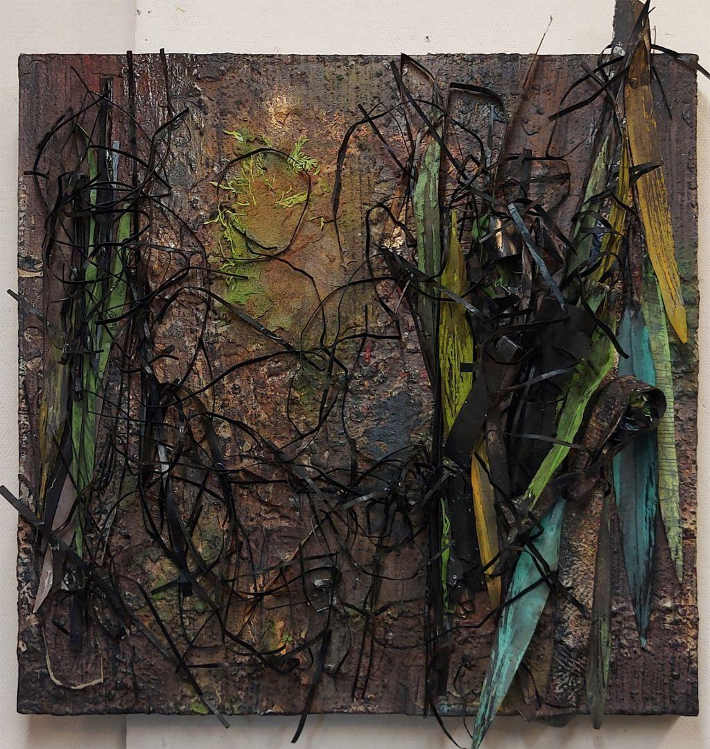 """Susan Farquhar, Epicormic 12, Paper cut, paint, canvas, soft pastel, 18"""" x 18"""" x 3"""", $600 ($750 Framed)"""