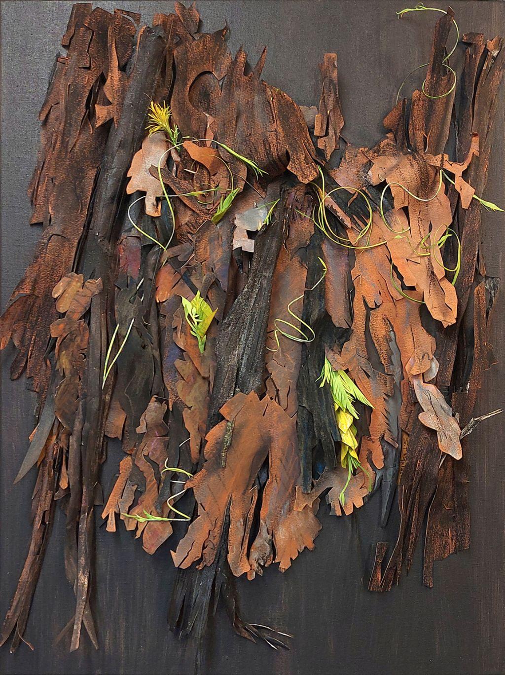 "Susan Farquhar, Epicormic 2, Paper cut, collage, soft pastel, 24"" x 18"" (Framed $25.5"" x 18.5""), $1200 Framed"