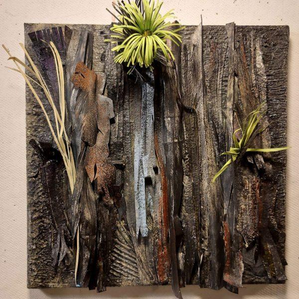 "Susan Farquhar, Post Fire, Paper construct, soft pastel, canvas, 12.5"" x 12.5"" $450 Framed"
