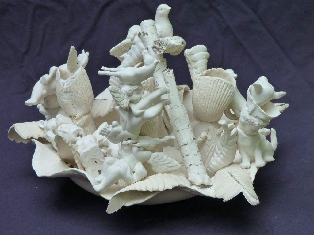 "Ann Cummings, Breaking the Waves, Porcelain Clay, 8"" x 11.5"", $1800"